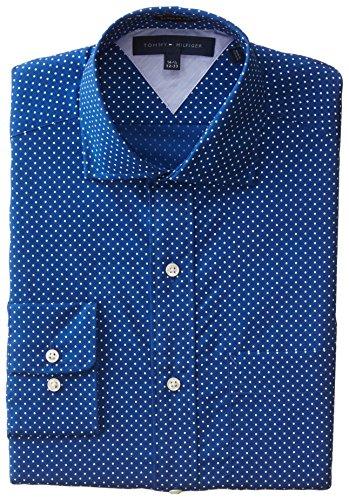 Tommy Hilfiger Men's Regular Fit Polka Dot, Royal, 17/32-33