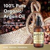 PURA DOR Moroccan Argan Oil 100% Pure & USDA Organic For Face, Hair, Skin & Nails, 4 Fluid Ounce
