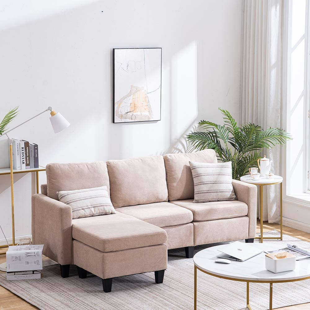 Bonnlo 3 Seat L Shaped Sectional Sofa for Small Living Room.