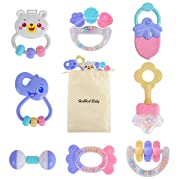 HAHA Baby Rattles Teether Toys Gift Set Infant Newborn Sensory Teething Toy for 0 3 6 to 12 Months Girls Boys