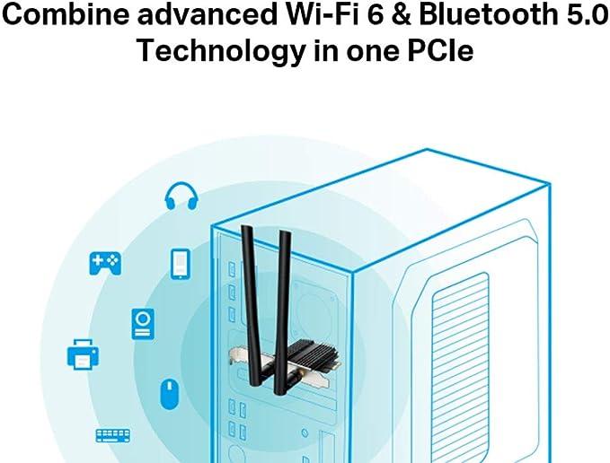 TP-Link Archer TX50E AX3000 - Adaptador PCIe Wi-Fi 6 Bluetooth 5.0 para PC con disipador de Calor, MU-MIMO, latencia Ultra Baja, Compatible con ...