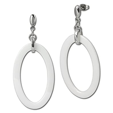 Amello ESOX04S Women's Earrings Stainless Steel Ceramic Large Oval Black nRFbyO