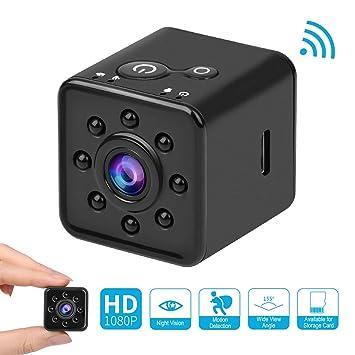 HankerMall Mini Cámara 1080P HD Spy Videocámara con Visión Nocturna CMOS Surveillance Cámara 155 Grados Cámara Oculta a Prueba de Agua Soporte Móvil WiFi ...