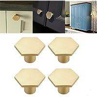 Mioloe 4-delige set van massief messing voor keuken, zeshoekige ladeknoppen van puur koper voor kastdeuren, kastdeuren…