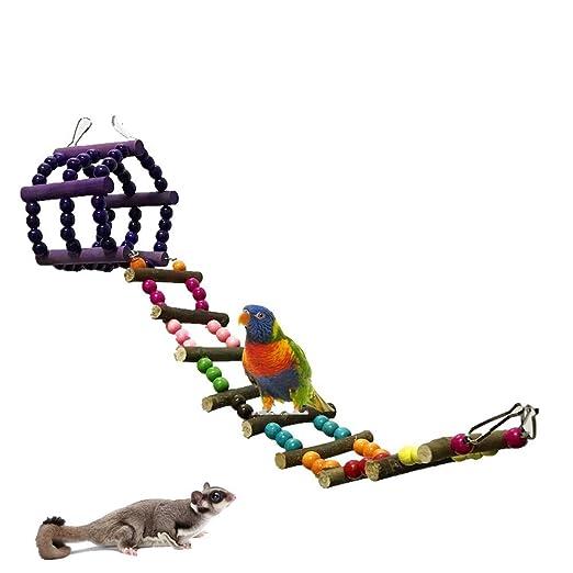 OUNONA Jaula de juguete para pájaros de madera flexible con ...