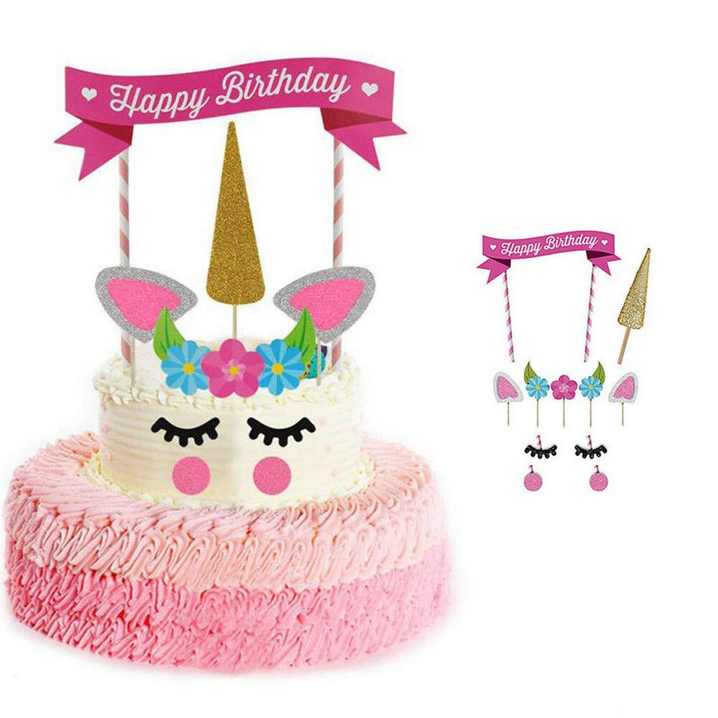 Patpat Unicorn Cake Birthday Topper Pink Unicorn Cake Topper Kit For Kids Girls Boys Baby Unicorn Theme Birthday Party Decoration Amazon In Toys Games