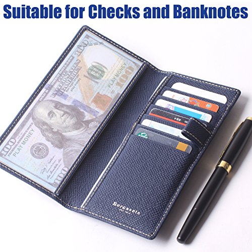 Genuine Leather Checkbook Cover For Men & Women - Checkbook Covers with Card Holder Wallet RFID Blocking (Blue) by Borgasets (Image #3)