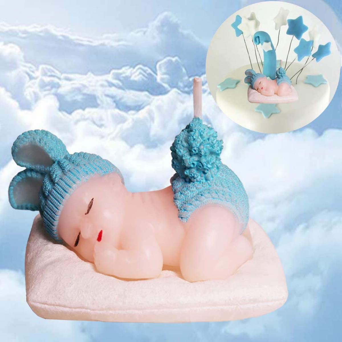 Baby showerparty candle sleeping baby blue