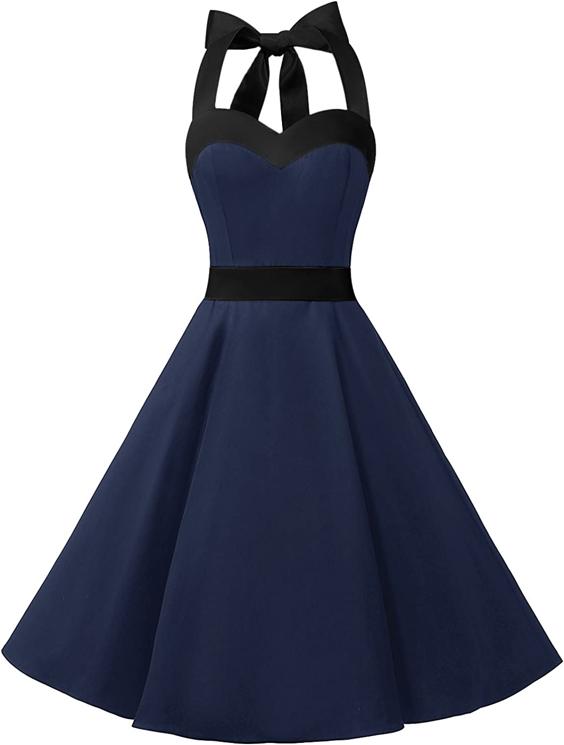 TALLA XL. Dresstells® Halter 50s Rockabilly Polka Dots Audrey Dress Retro Cocktail Dress Navy Black XL