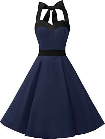TALLA L. DRESSTELLS® Halter 50s Rockabilly Polka Dots Audrey Dress Retro Cocktail Dress Navy Black