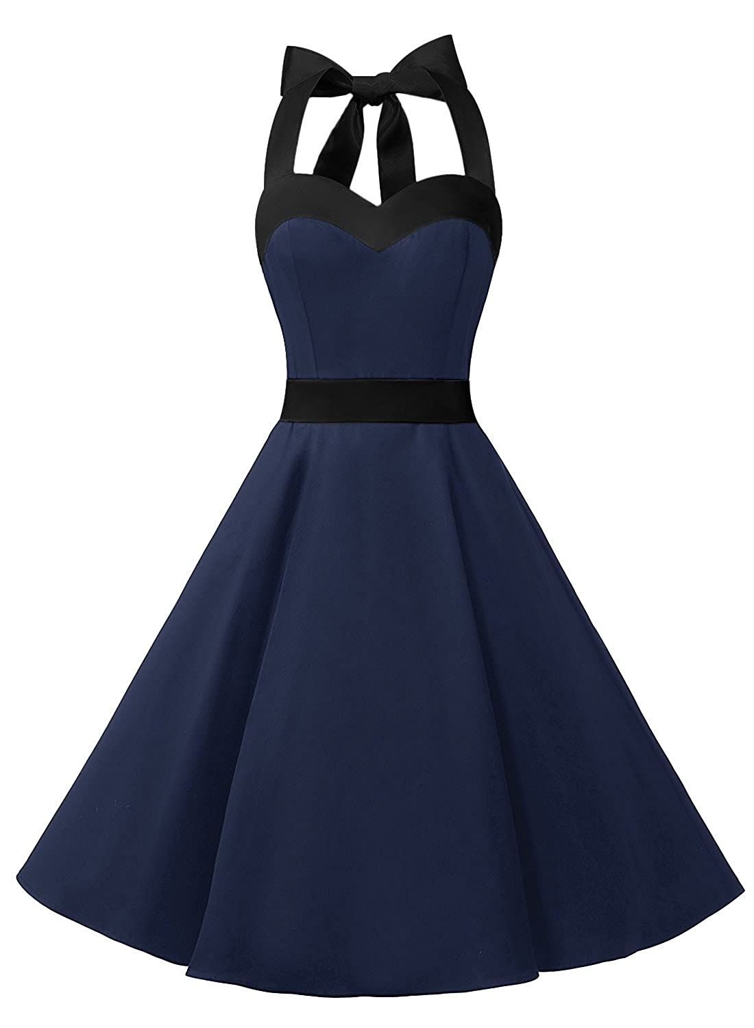 TALLA 3XL. Dresstells® Halter 50s Rockabilly Polka Dots Audrey Dress Retro Cocktail Dress Navy Black 3XL