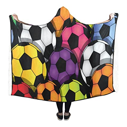 Amazon InterestPrint Fleece Hooded Blanket Color Soccer Enchanting Soccer Blankets And Throws