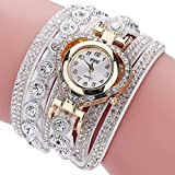 CLEARANCE!! Women's Watches Sonnena Ladies Vintage Rhinestone Bracelet Watch Analog Wrist Watch Jewelry Set , HOT SALE 2018 Wrist Watch for Party Club Casual Watches Valentine's Day Gift Stainless Steel Watch (Bracelet, White)