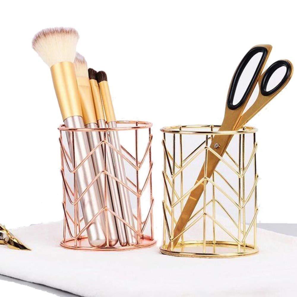 Amazon.com: Mayitr Rose Gold Hollow Pen Pencil Pot Holder Makeup