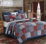 ''Blocks Red and Blue'' Patchwork Quilt Set King