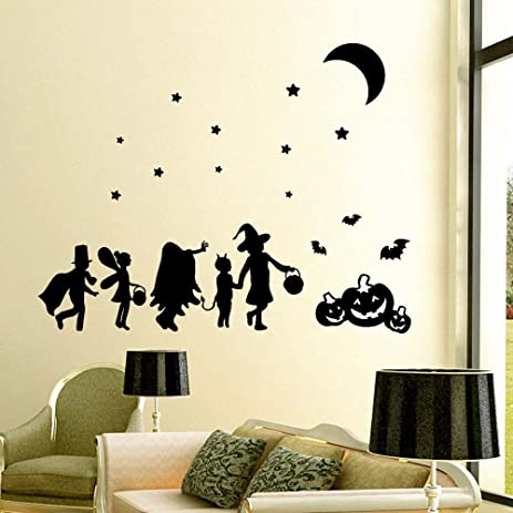 Ml victor halloween pumpkin bats moon stars wall decals window stickers mural decor decal halloween decorations art