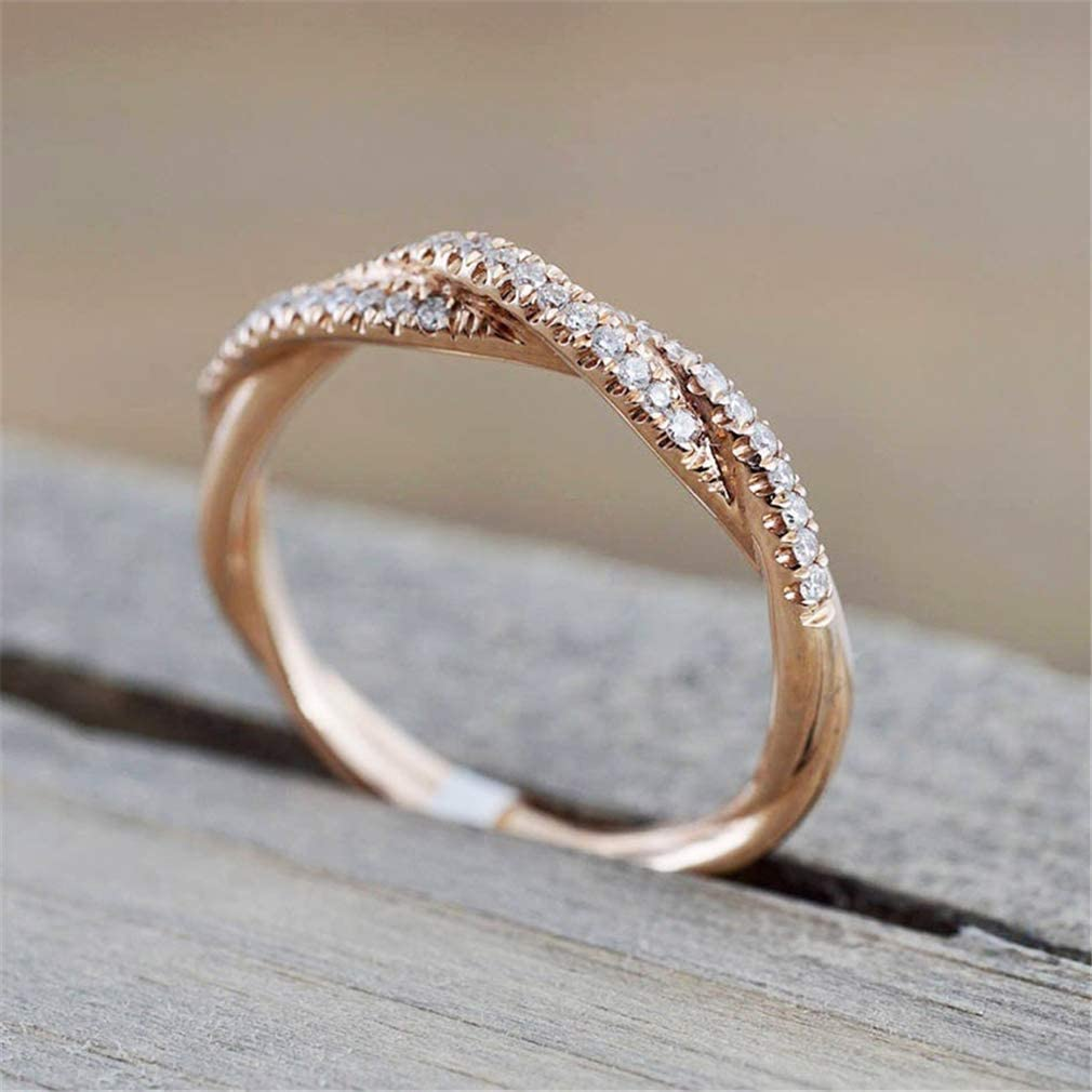 TraveT Twisted Shape Crystal Ring for Women Bridal Engagment Wedding Ring Fashion Rhinestone Wedding Band Party Jewelry Size 5-11,Rose Gold 6