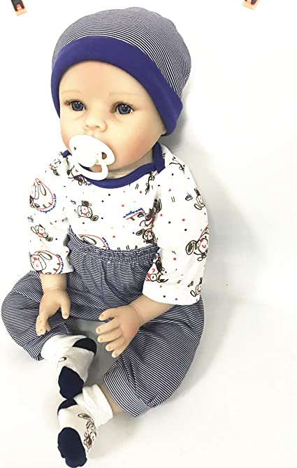 Dark Blue Stripe Reborn Baby Boy Doll Clothes for 20-23 Inch 4 Pieces Set Reborn Baby Doll Clothing Outfit