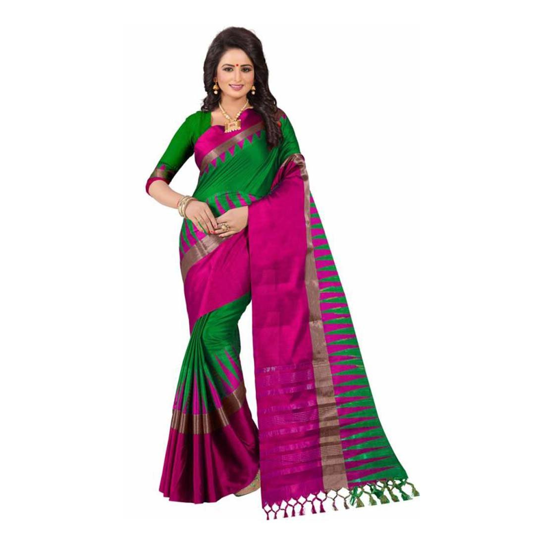 Indian Handicrfats Export Woven Kanjivaram Cotton Silk Saree (Green, Pink) FKSAR-01312