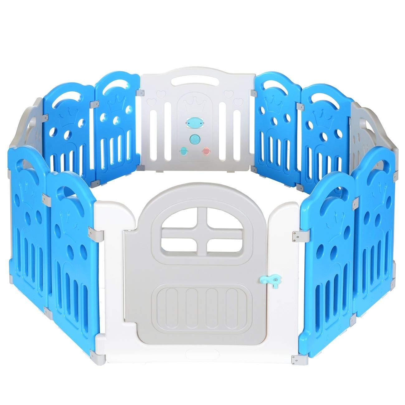 Corral 8 Caras | Parque Juegos Infantil | Barrera de Seguridad Bebé; Blanco Azul product