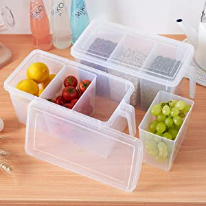 MineSign Handle Kitchen Organizer Set Food Storage Containers Clear Organization for Refrigerator Fridge Shelf Cabinet Desk (Set of 2 Organizers with Lid and 6 Removable Bins)