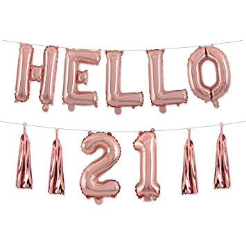 21st Birthday Decorations 16inch Rose Gold Hello 21 Balloons Tassel Brithday Party Photo