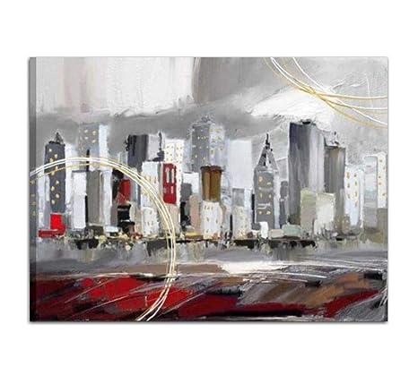 Cuadro Pintado A Mano Sobre Lienzo Ciudad Cuadros Modernos Para