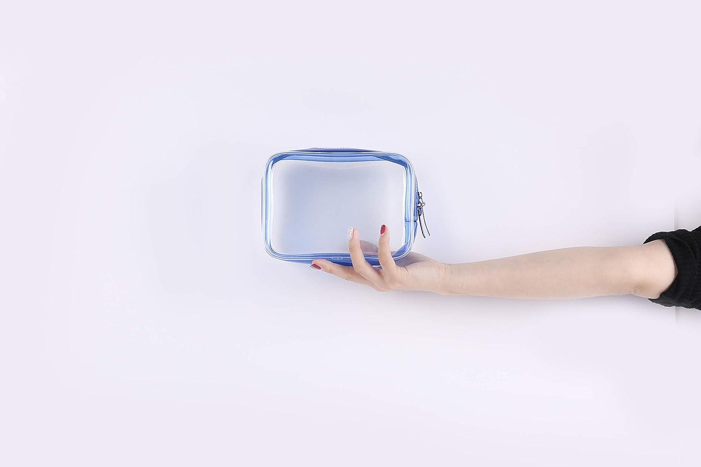 Trousse de Toilette,Transparente Trousse de Toilette de Voyage Clear Plastic Blue 3 Pieces Trousse de Voyage pour Femmes Hommes Enfants Douche Imperm/éable Diff/érentes Tailles