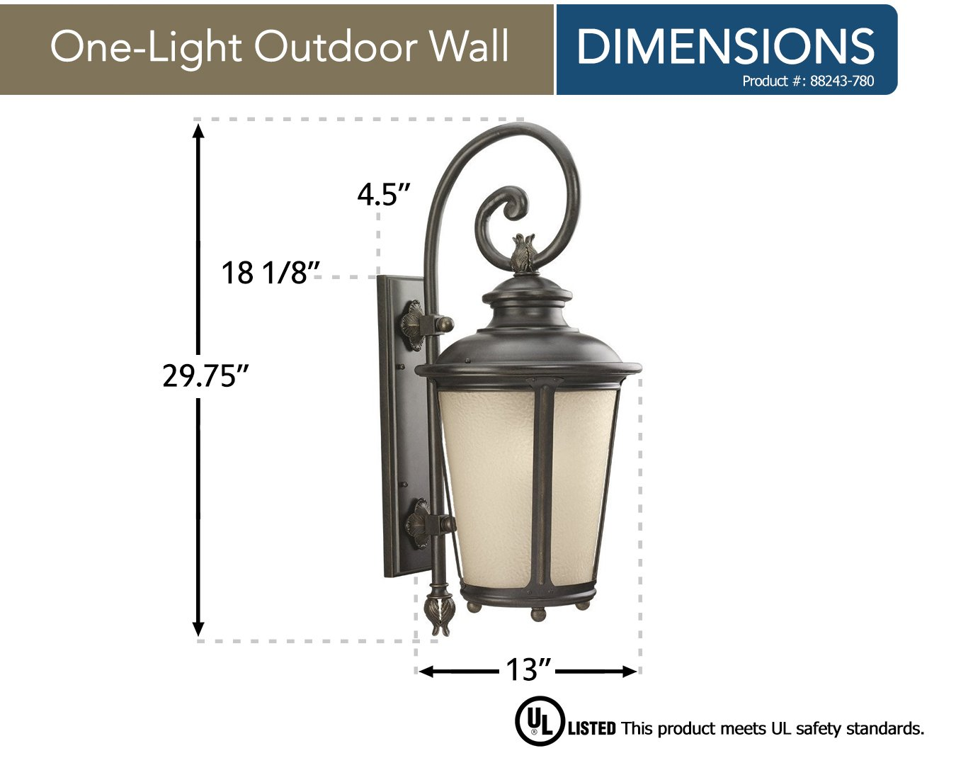 Sea Gull Lighting 88243-780 Cape May One-Light Outdoor Wall Lantern with Etched Hammered Light Amber Glass Diffuser, Burled Iron Finish by Sea Gull Lighting (Image #2)