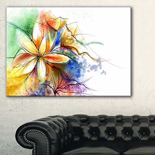 Design Art 1 Piece Abstract Multi-color Flower Fusion Large Flower Canvas Wall Art, 60x28'', Blue by Design Art