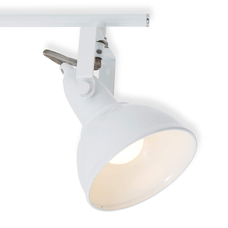 wei/ß Briloner Leuchten 2049-036 Deckenleuchte Deckenlampe mit 3 dreh-und schwenkbaren Spots im Retro//Vintage Design Metall 40 W