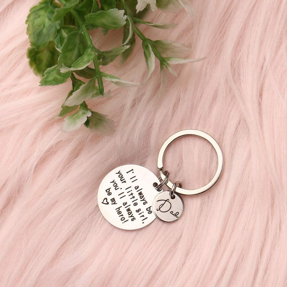 Thanksgiving kuou Father Key Chain Christmas III Always be Your Little Girl You Will Be My Hero Love Keychains Daughter Gifts for Fathers Day