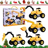 City Construction 4 in 1 Take-A-Part Trucks Vehicle Kids DIY Stem Educational Engineering Toy Set Include Crane Excavator, Drilling Crusher and Roll Clamp