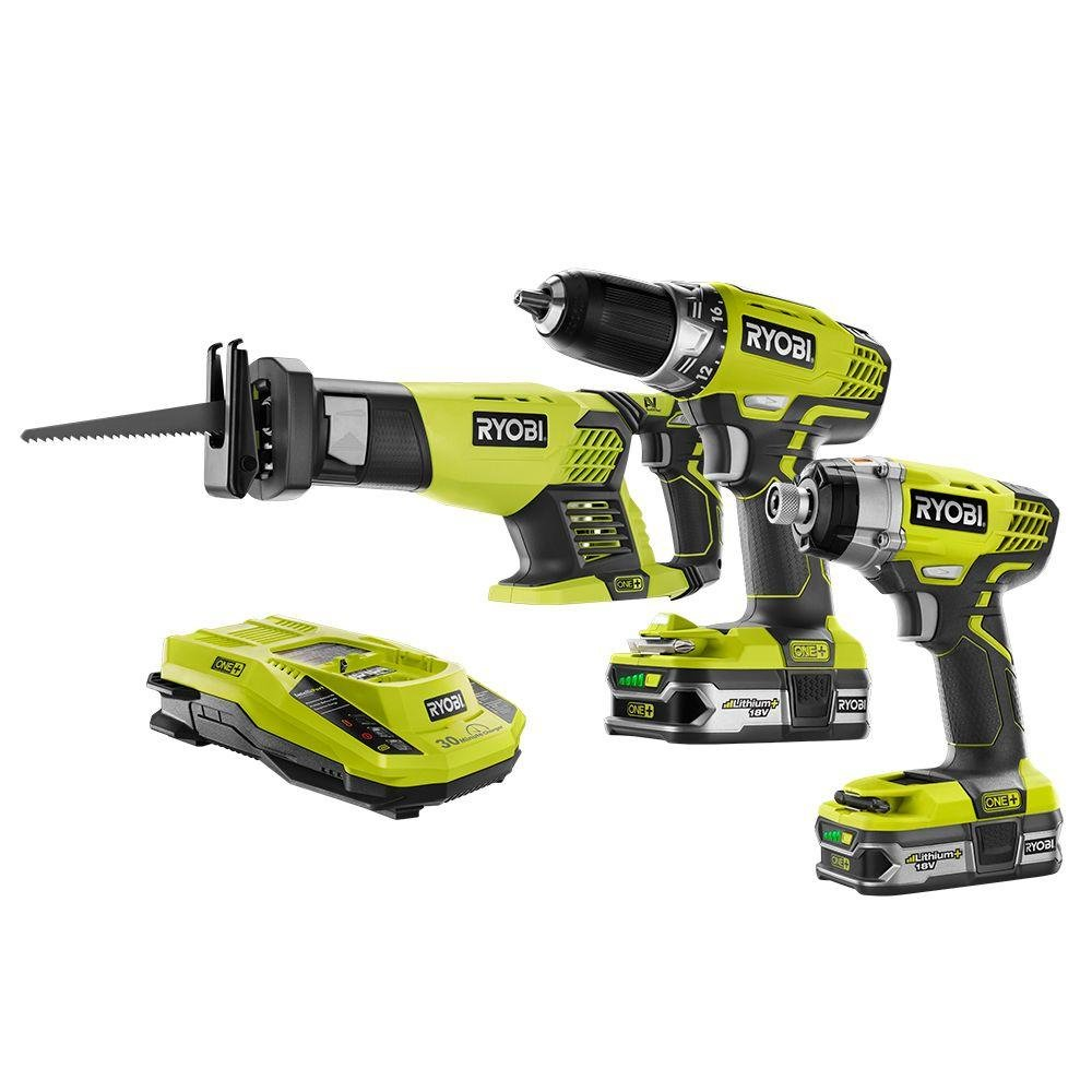 (Ship from USA) NEW Ryobi ONE+ 18-Volt Cordless Combo Kit (3-Tool) P1873 18V Power /ITEM NO#E8FH4F854125686 by Unknown