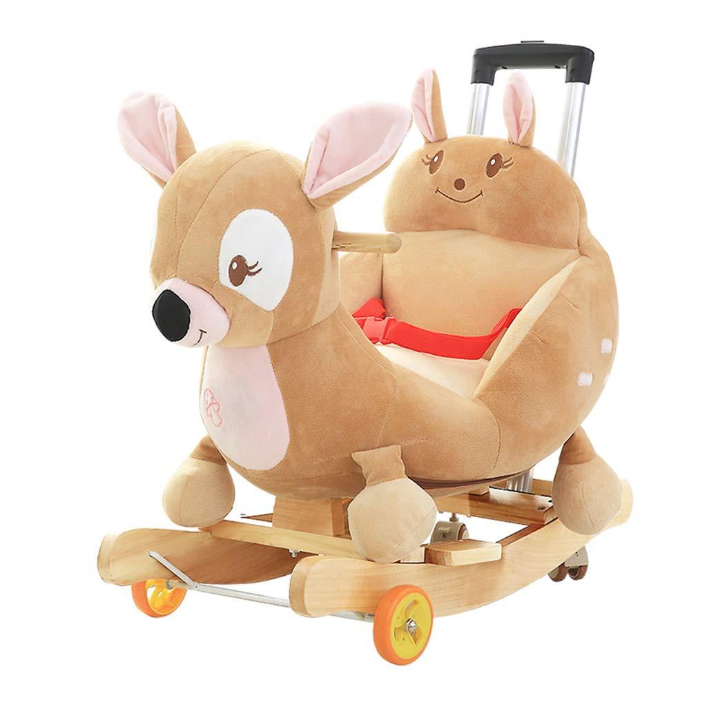 HUYP Kinder Musik Trojan Horse Baby Baby Schaukelstuhl Massivholz Mit Rocking Wiegen Mädchen Alter Geschenk (Farbe   C) C
