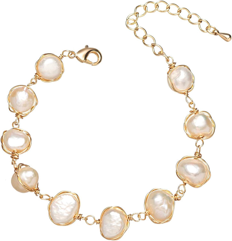 Elegant Handmade White Pearl Wedding Bracelet with Dangle Charms