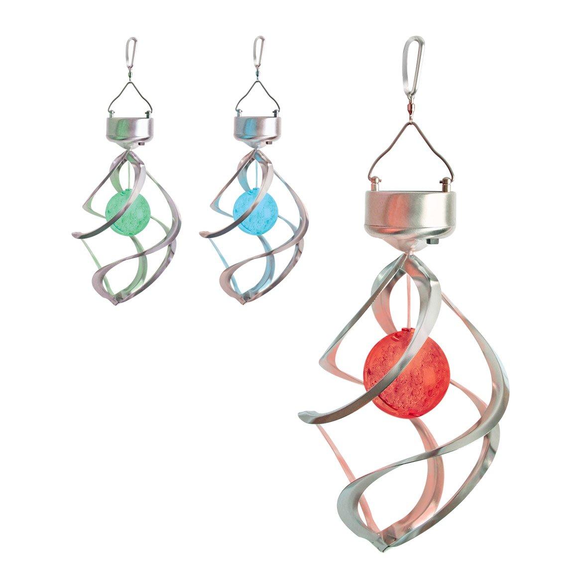 Benross GardenKraft 17990 Stainless Steel Colour Changing Wind Spinner Solar Hanging Garden Light Benross Marketing Ltd