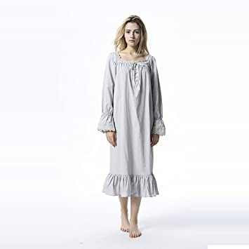 YAN Albornoz de Lujo Albornoz de Princesa de Las Mujeres Vestido de Dormir de algodón Vestido ...