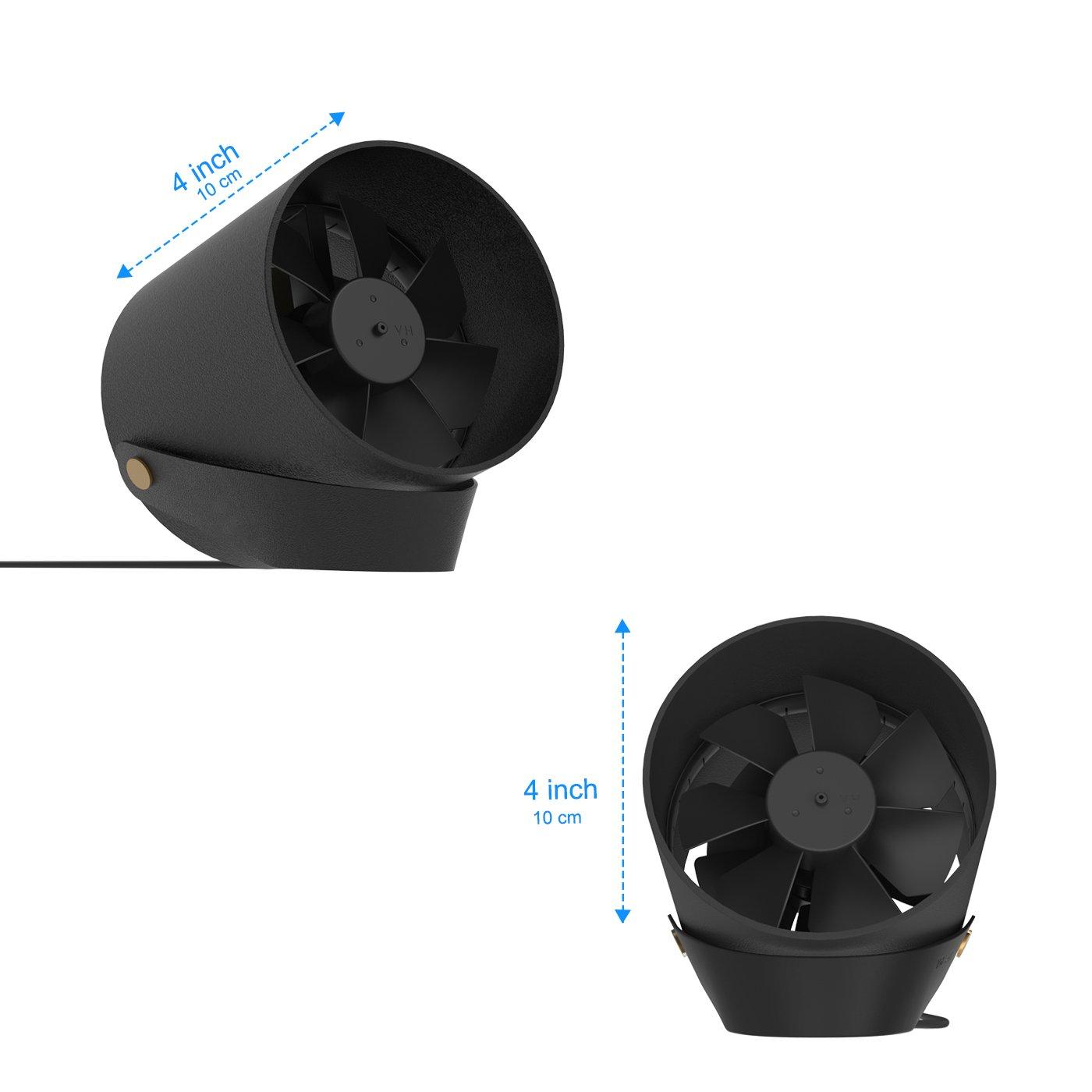 pour le bureau de bureau de voyage Ventilateur de table de bureau USB avec les lames jumelles de Turbo Ventilateur portatif de Tableau de cadre en m/étal de contr/ôle de contact