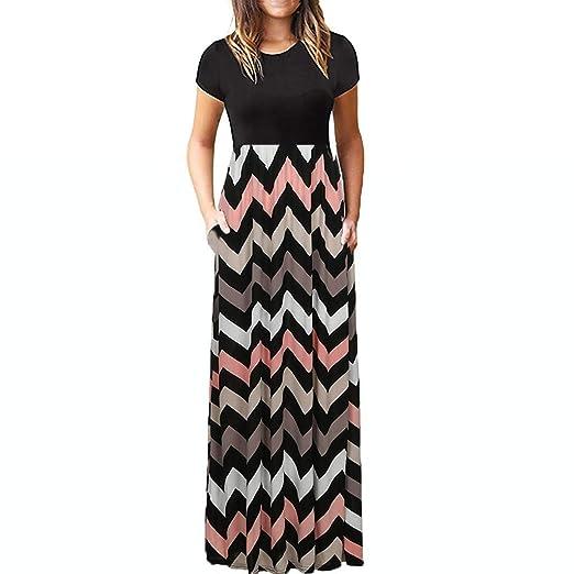 df44d0df89e Pervobs Women s Maxi Dresses Summer Holiday Short Sleeve O-Neck Loose  Floral Print Casual Long