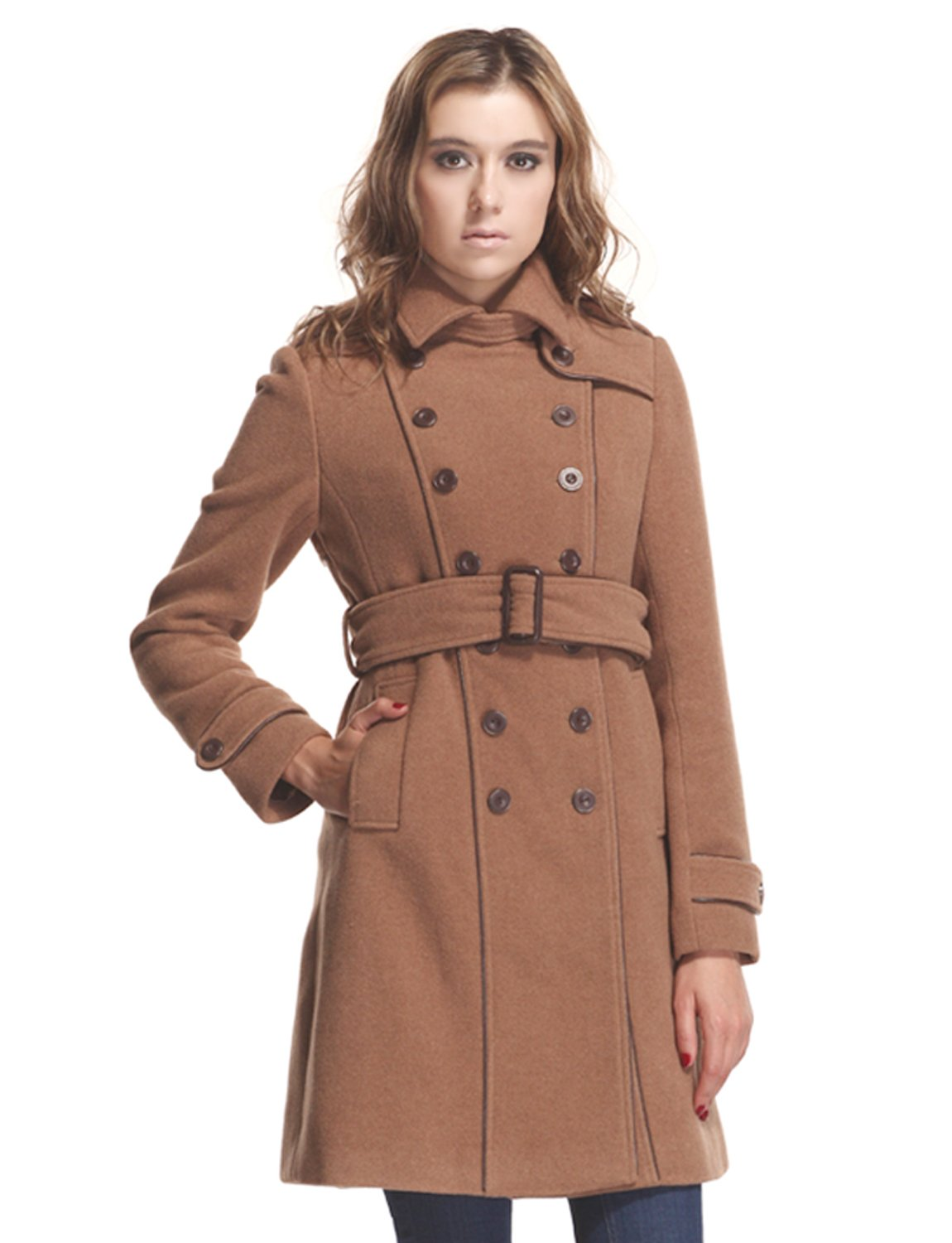 ZAREEN Women's Wool Blend Coat With Trench Style (Large, Camel) by ZAREEN
