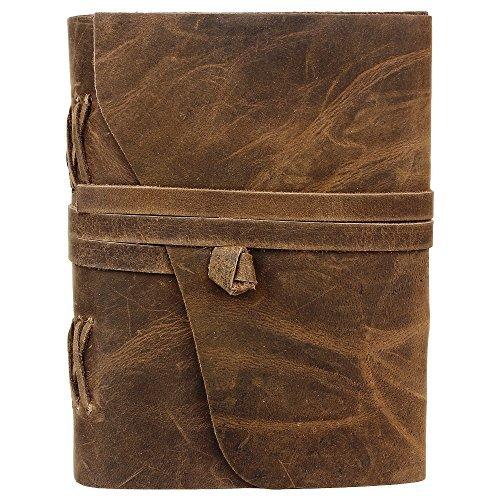 Handmade Leather Journal Diary Notebook for Men Women Traveler Notebook (Raw Brown)