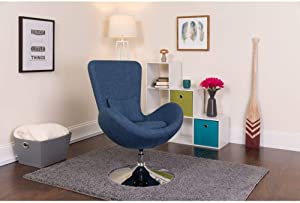 Flash Furniture Egg Series Blue Fabric Side Reception Chair