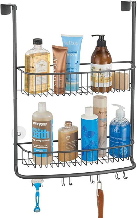 mDesign Colgador de ducha para la mampara – Elegantes estantes para baño sin taladros – Estanterías de baño de metal con dos cestas y cuatro ganchos dobles para todo tipo de accesorios –