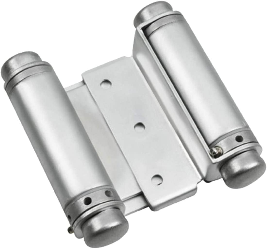 Rok Hardware Double Action Steel Spring Hinge 2 Hinges Satin Chrome Super Value 2-Pack
