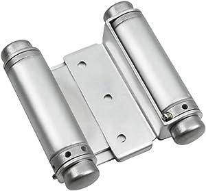 Rok Hardware Double Action Steel Spring Hinge, Satin Chrome Super Value 2-Pack (2 Hinges)
