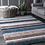 nuLOOM HJZOM1B Classie Hand Tufted Shag Rug, 5' x 8', Blue Multi, Rectangle