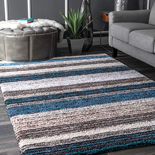 nuLOOM HJZOM1B Classie Hand Tufted Shag Rug, 5' x 8', Blue Multi, Rectangle from nuLOOM