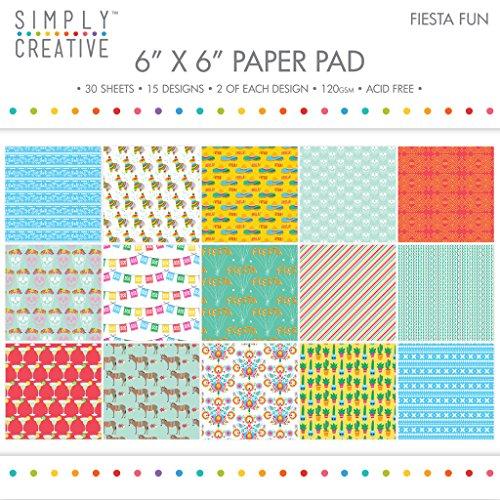 "Premium Craft Paperstock Simply Creative Fiesta Fun 6x6"" Scrapbook Papers"