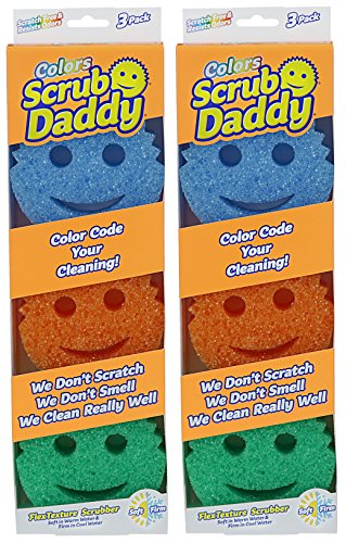 Price comparison product image Scrub Daddy - Flex Texture Sponge, 6 Pack - Colors And Packaging May Vary
